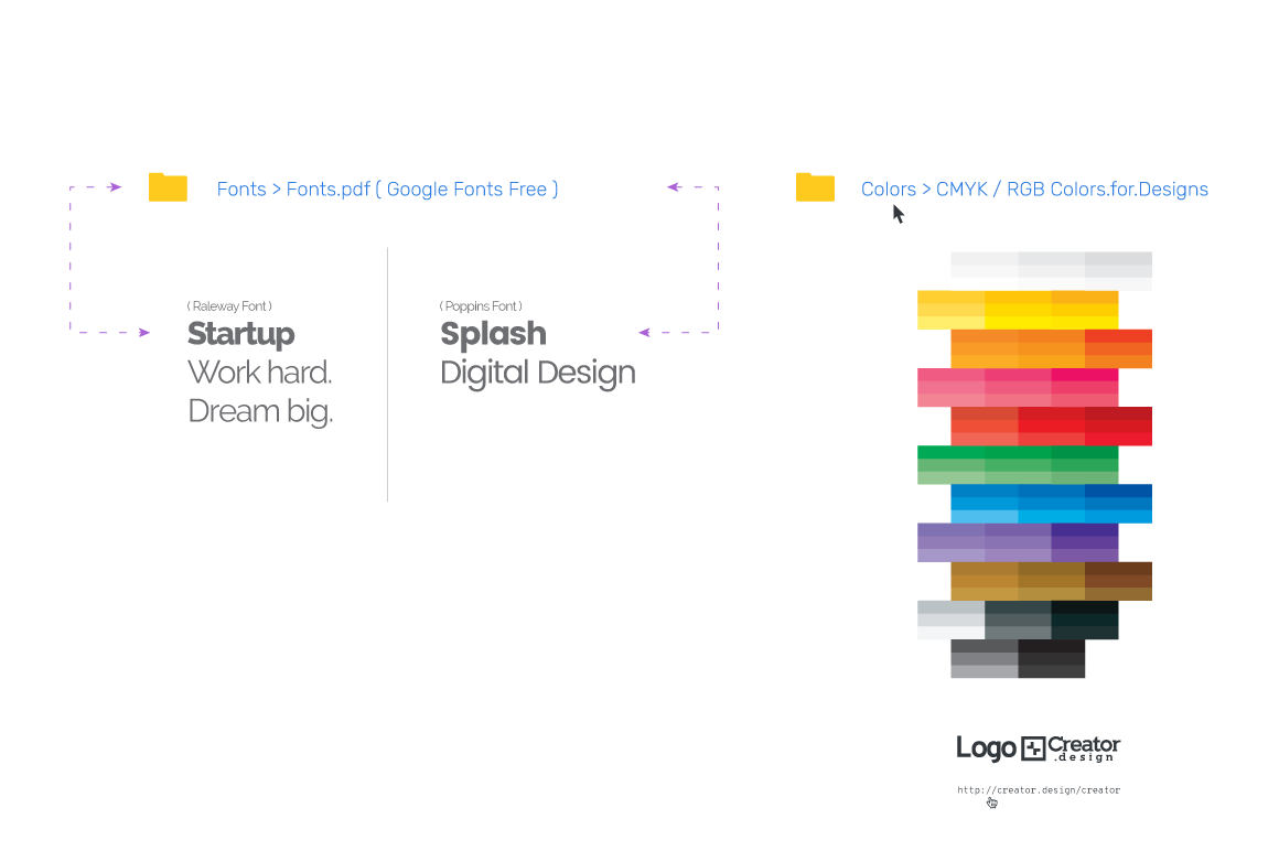 Logo[+]Creator. How it works. Work with Fonts and Colors.