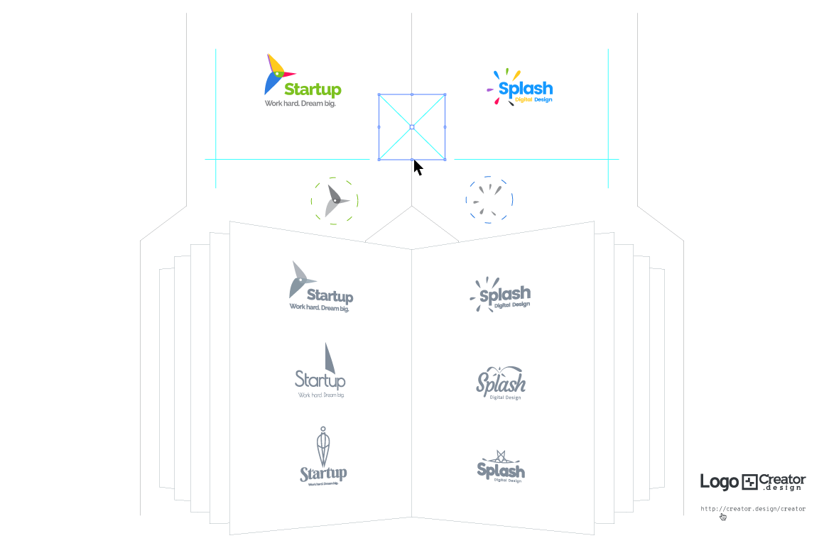 Logo[+]Creator. How it works. Mix and match in any number of shapes or combinations.
